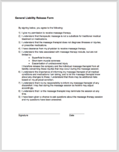 GENERAL LIABILITY RELEASE  General Release Of Liability Form