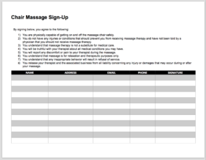 CHAIR MASSAGE SIGN UP FORM