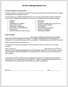This Form Informs Clients Of The Contraindications To Hot Stone Massage And Releases Therapist Liability Is Meant Be Used Alongside A