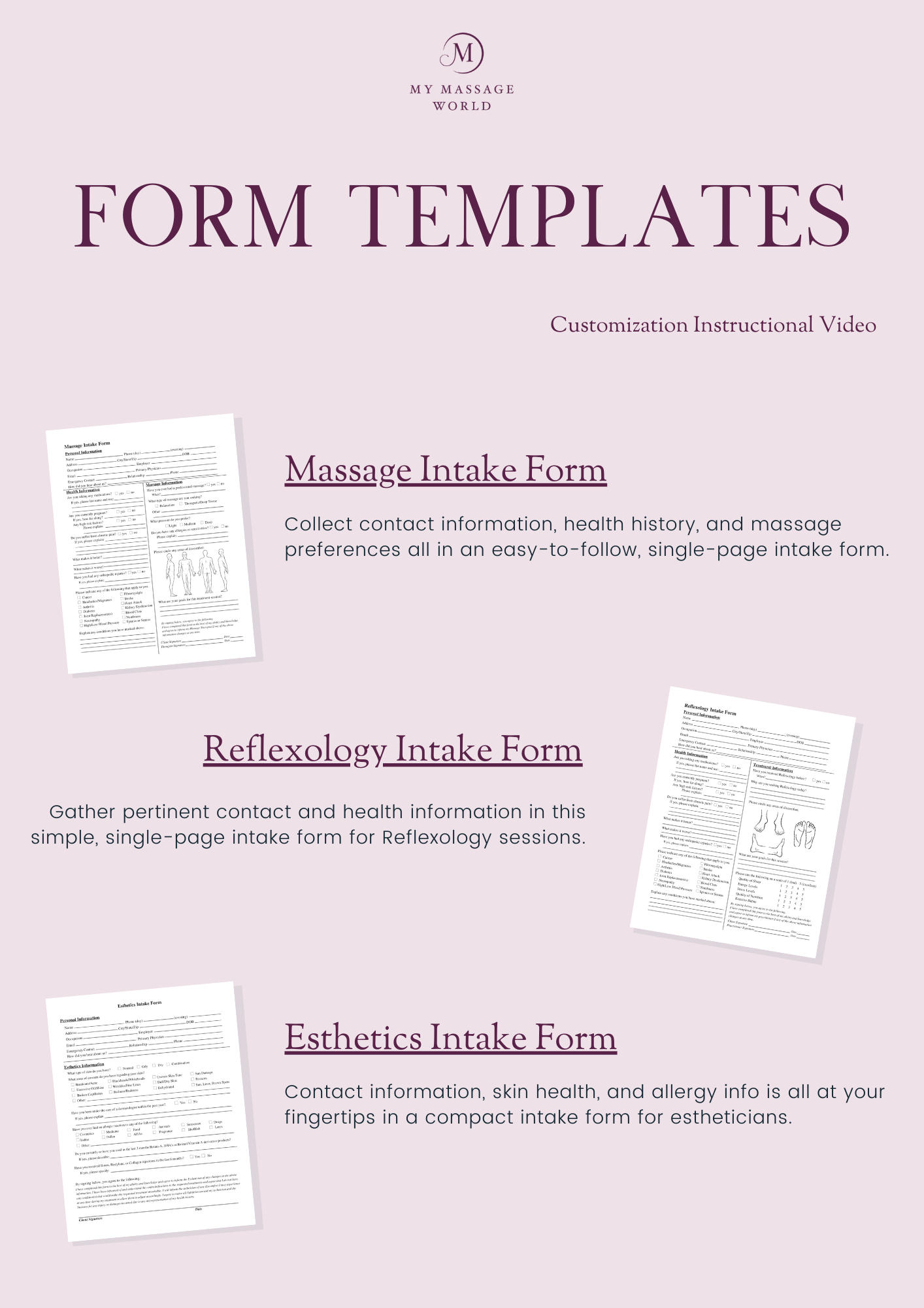 Massage Business Form Template Pack